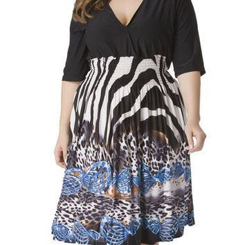 Streetstyle  Casual Deep V-Neck Plus Size Flared Dress In Animal Printed