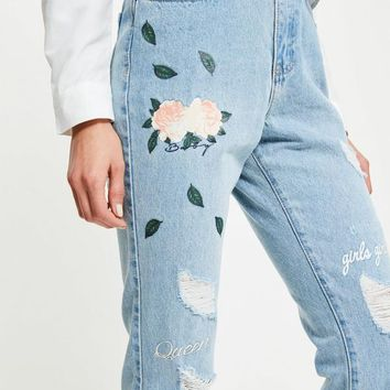 Missguided - Blue Riot High Rise Graphic Print Ripped Jeans