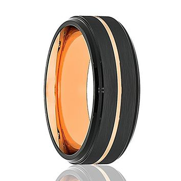 Mens Wedding Band - Tungsten Wedding Band - Black Tungsten Small Rose Gold Groove Stepped Edge  - Tungsten Wedding Ring - Man Tungsten Ring - 8mm
