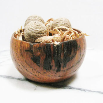 Small Hand Turned Red Oak Bowl - Wood Nest Bowl With Dried Wood Shavings and Miniature Jute Bowl Fillers - Woodland Decor