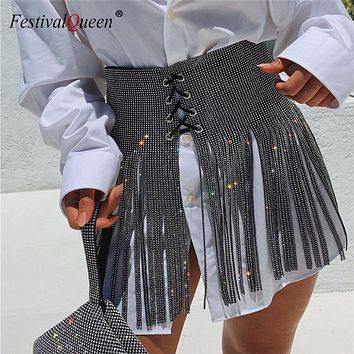 2019 Sexy Women Sequins Tassel Skirts Ladies Sparkly Diamond Rhinestone Bandage High waist Mini Skirt Gold Silver Black