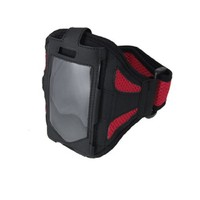 uxcell® Adjustable Sports Black Red Mesh Holder Armband for iPhone 4