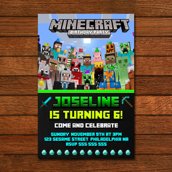 Minecraft Birthday Invitation Template for awesome invitation sample