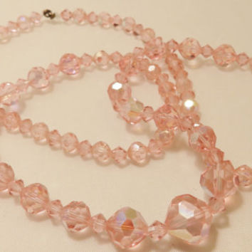 Vintage Pink Glass Faceted Bead Long Length Necklace