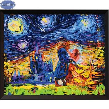 5D DIY Diamond Painting Beauty and the beast  Van gogh Painting Cross Stitch Rhinestone home Decoration needlework wall pictures