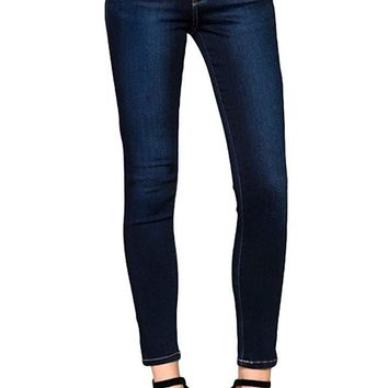 Flying Monkey Blue Gemini Dark Blue Mid Rise Dark Wash Super Soft Skinny Jeans Y1899