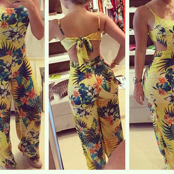 Yellow Floral Print Strappy Flared Leg Jumpsuit