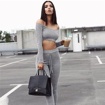 2017 fashion two pieces set women club wear clothing sexy long sleeve crop tops and pencil pants two pieces outfits