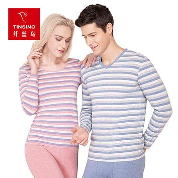 Winter Striped Cotton Long Johns Thermal Underwear Set Thin Section V-Neck Men Bottoming Basis Couples Thermos Roupa Termica
