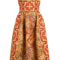 Dolce & Gabbana Mosaic Printed Silk-wool Bustier Dress - Browns - Farfetch.com