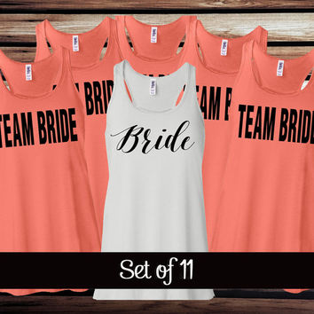 11 Custom Bridal Party Tanks - 11 Bachelorette Party Tanks - Bride's Entourage Tank Tops - Bachelorette Party T Shirts