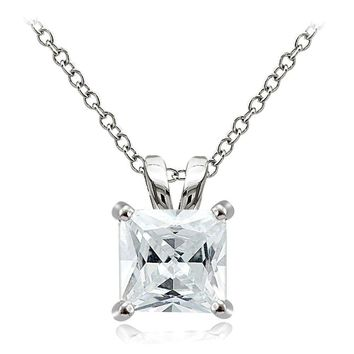 925 Sterling Silver 9.5ct Cubic Zirconia 12mm Square Solitaire Necklace