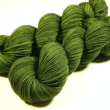 Hand Dyed Sock Yarn - Sock Weight 4 Ply Superwash Merino Wool Yarn - Moss Tonal - Knitting Yarn, Sock Yarn, Wool Yarn, Olive Green