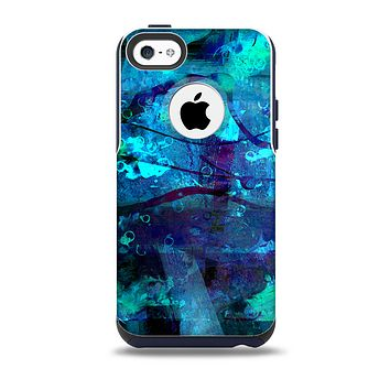 The Abstract Blue Vibrant Colored Art Skin for the iPhone 5c OtterBox Commuter Case