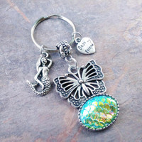 Butterfly keyring, Fish scales, Mermaid scales, mermaid, best friends keychain, bag charm, purse charm, item No.912