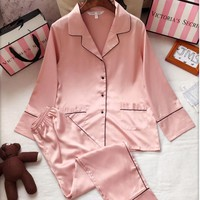 Victoria's Secret Women Silk Satin Shirt Pants Trousers Robe Sleepwear Loungewear Set Two-Piece
