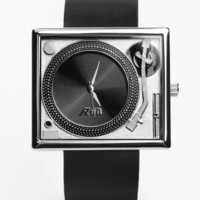 Flud Watches Tablesturns Watch - Silver w/ Leather - Punk.com