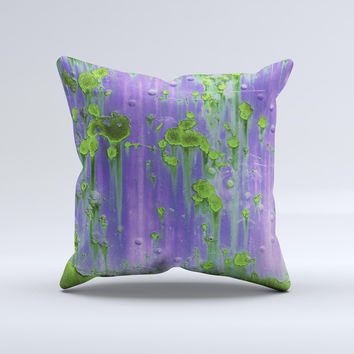 Purple Metal with Lime Green Rust  Ink-Fuzed Decorative Throw Pillow