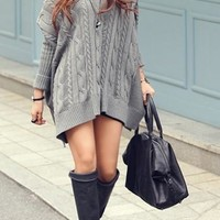 Grey Long Line Varied Knit Bat Sleeves Asymmetric Korean Fashion Sweater