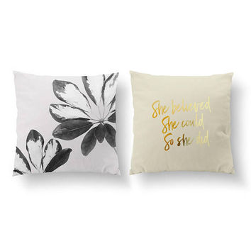 SET of 2 Pillows, She Believed Pillow, Gold Pillow, Leaves Black Pillow, Bed Pillow, Leaf Decor, Throw Pillow, Cushion Cover, Funny Quote