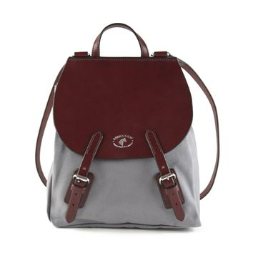 Equus Canvas Leather Backpack | Burgundy/Grey