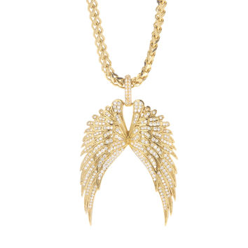 18K Gold .925 Sterling Silver Iced Out Angel Wings Pendant Necklace