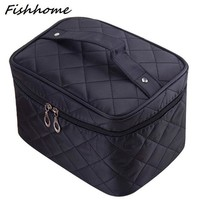 DCCKL3Z Cosmetic box 2017 new female Quilted professional cosmetic bag women's large capacity storage handbag travel toiletry makeup bag