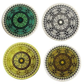 Ceramic Coaster Set of 4Absorbent Stone Coasters for Cold Drinks Coffee Mug Glass Cup Place Mats Ocean Life