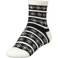 Women's Cozy Cabin Socks Black White