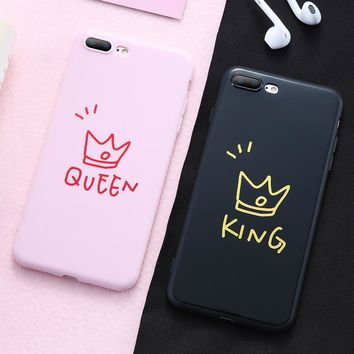 MR.YI Couple Soft Silicone Case For iPhone X 6 6S 7 8 Plus Ultra Thin King Queen Crown Back Cover For iPhone 6 6S 7 8 X 10 Case
