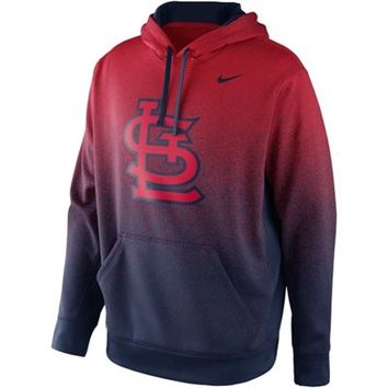 Nike St. Louis Cardinals Mezzo Fade Performance Hoodie - Red/Navy Blue
