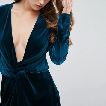 Missguided Velvet Wrap Dress at asos.com