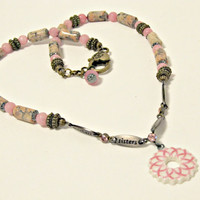 Breast Cancer Awareness - Pink Ribbon Wreath Necklace - Pink Feldspar, Pink Amazonite - Mothers, Daughters, Sisters, Friends