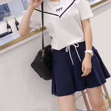Women's Leisure  Fashion Letter  Printing Dew Shoulder  Short Sleeve Elastic Short Skirt Two-Piece Casual Wear