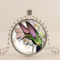 "Purple and green humming bird, 1"" glass and metal Pendant necklace Jewelry."