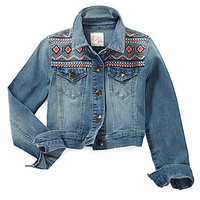 GB Girls 7-16 Embroidered Denim Jacket - Indigo