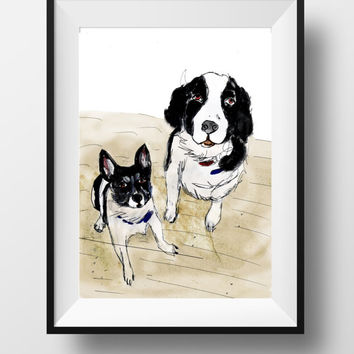 Double pet portrait of two dogs. Custom pet print for animal lovers painted pet portrait, pet memorial from dog portrait artist StephanieB