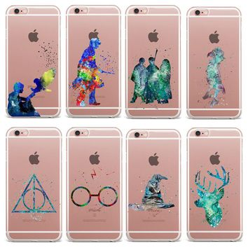 Soft TPU Clear Silicon Phone Case For iPhone X 8 7 6 6S Plus 5S SE Harry Potter Watercolor Hogwarts Castle Deer Magic Cover Skin