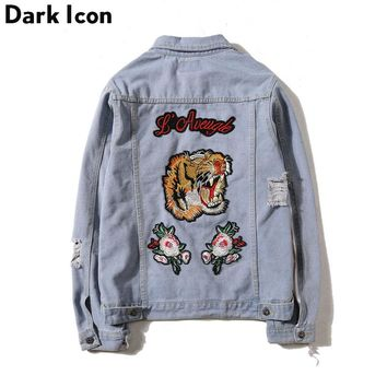 DARKICON Tiger Embroidery Ripped Men Women Denim Jackets 2017 Fashion Design European Style Men's Jacket 2 Colors