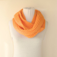 Knitted infinity Scarf. Block Infinity Scarf. Loop Scarf, Circle Scarf, Neck Warmer. Orange Crochet Infinity