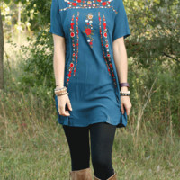 Floral Embroidered Dress Tunic - Teal