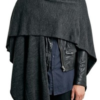 Men's Topman Charcoal Knit Wrap Cape - Grey