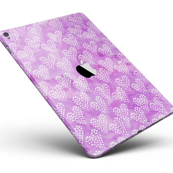 """Micro Hearts Over Purple adn Piink Grunge Surface Full Body Skin for the iPad Pro (12.9"""" or 9.7"""" available)"""