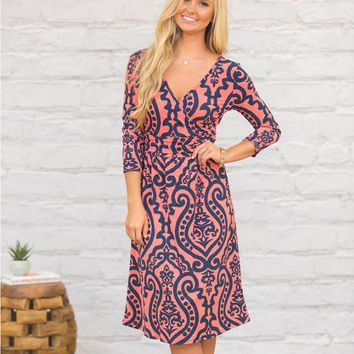Pink V-Neck Ethnic Print Dress