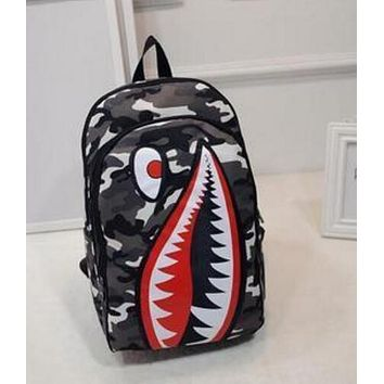 Shark Mouth Trending Print Unisex Casual New Cartoon Double Shoulder Bag Travel Backpack Personalized Canvas School Bag