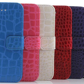 Crocodile Print Leather Case for iPhone 6 Plus with Free Screen Protector!