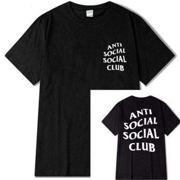 "Fashion loose leisure print""anti social social club"" T-shirt"