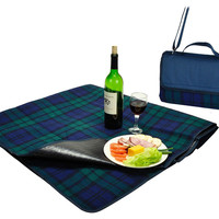 Fleece Picnic Blanket Tote, Navy Plaid, Acrylic / Lucite, Blankets