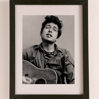 Bob Dylan Portrait With Acoustic Guitar & Cigarette By Michael Ochs/Getty Images Art Print | Urban Outfitters