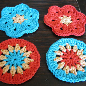 Crochet Coaster - African Flower Coasters - Set of Four Orange, Yellow, and Turquoise Coasters or Face Scrubbies